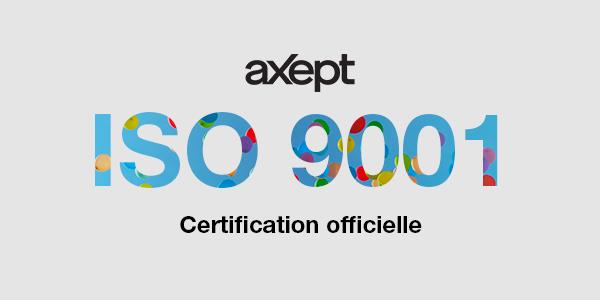 Certification ISO 9001 pour l'entreprise aXept